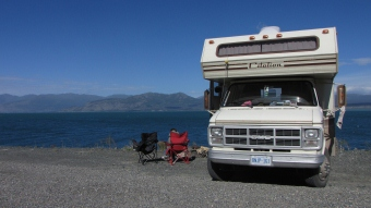 Camping on the shore of Kluane Lake